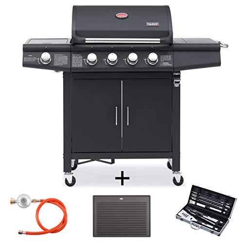 TAINO RED 4+1 Gasgrill inkl. Grillbesteck Set Gasregler Grillplatte Grillwagen BBQ Edelstahl-Brenner Gas-Grill schwarz für Garten