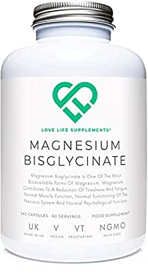 Magnesium Bisglycinate by LLS (Also Known as Magnesium Glycinate) | Chelated Magnesium Supplements with Zero Bulking Agents | 2750mg (303mg Magnesium) | 240 Capsules / 60 Servings | Highly Bioavailable Form of Magnesium | Manufactured in the UK Under BRC