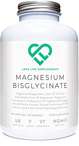LLS Magnesium Bisglycinate (Chelated) | Zero Bulking Agents | 2500mg (250mg Magnesium) | 240 Capsules / 60 Servings | Highly Bioavailable Form of Magnesium | Produced in the UK Under GMP Licence | Love Life Supplements - Live Healthy, Love Life.