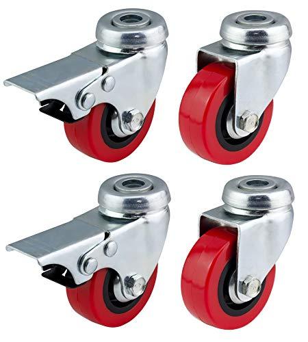 50mm Polyurethan Lenkrollen mit Bremse (rot PU)?Heavy Duty?Möbel, Gerät & Ausrüstung Räder von Bulldog Rollen?Max 150kg pro Set