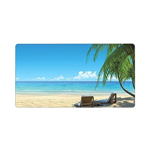 Alfombrilla de ratón Grande para Juegos,Tropical Dos sillas de Playa con Estilo en la Playa Relajante Sombra de la,Base de Goma Antideslizante,Adecuada para Jugadores,PC y portátil(80 x 30cm)
