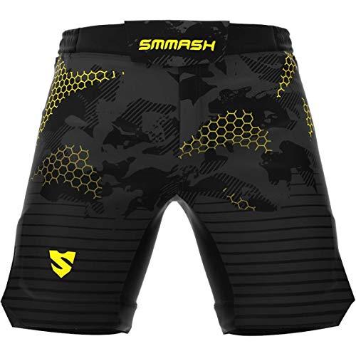 SMMASH Grid Ultraleggero Pantaloncini Professionali MMA Uomo, Kick Boxing, K1, UFC, Boxe, Grappling, Krav Maga, Antibatterico Pantaloncini Uomo Sportivi, Prodotto nell'Unione Europea (M)