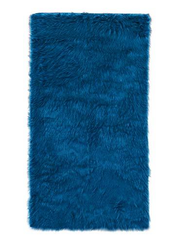 Flokati-Stil Hochflor Shaggy Teppich Ameiny Colours - In bunten Farben und kuschelweich ( Läufer / Bettvorleger, 40 cm x 200 cm, Dunkelblau)