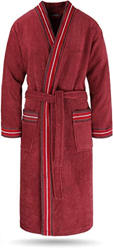 normani Bademantel Set aus 100% Bio-Baumwolle (Bademantel + Handtuch + Waschlappen) für Herren und Damen [S-4XL] Farbe Rot Größe S