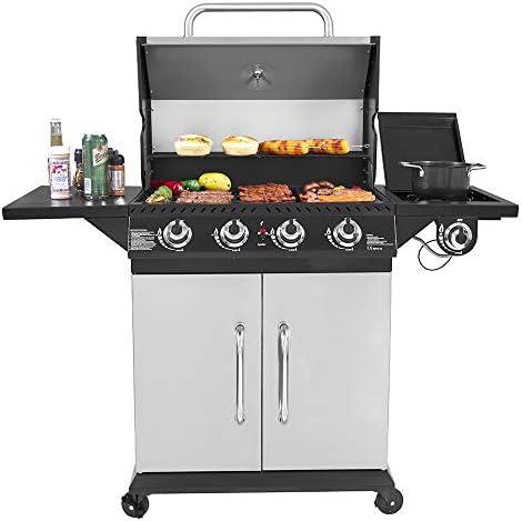 BRASERO - Barbecue Perth INOX 4 Feux + 1 - Jusqu'à 12 convives - Surface de Cuisson 70 x 42 cm - 2 Tablettes Dont 1 brûleur latéral - Jauge de température - Récupérateur de Graisse - 14,5 KW