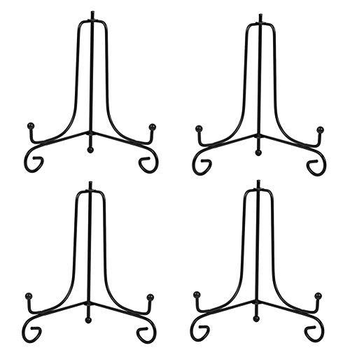 Tincogo (4 Stück Schwarz Metall Tellerständer Tellerhalter Eisen Staffelei Display Ständer für Schüssel Teller Kunst Foto Bilderrahmen 8 Zoll