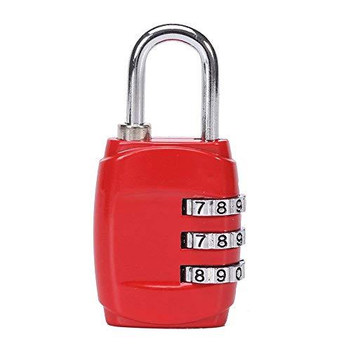 Ogquaton 1 Stücke Bequem und Praktisch 3 Digitale Kombination Vorhängeschloss Zahlenschloss Geeignet für Gepäcktasche Schule Gym Schließfächer Aktenschränke (Rot)