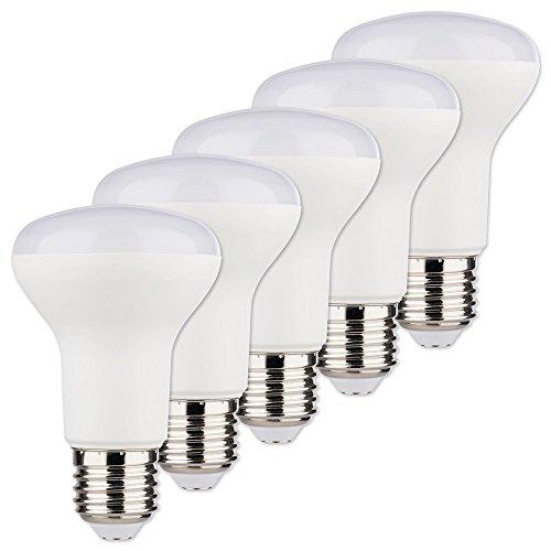 MÜLLER-LICHT 5er-SET LED Reflektor ersetzt 60 W, Plastik, E27, 8 W, Weiß, 6.3 x 6.3 x 10 cm, 5 Einheiten