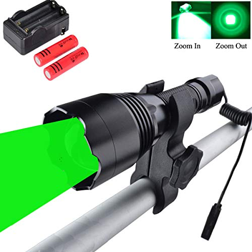 WINDFIRE WF-360G Green Hunting Light 350 Yards Coyote Light Zoomable LED Tactical Flashlight Gear Hog Fox Predator Night Hunting Light Kit with Remote Cable Switch Scope Mount 18650 Batteries Charger