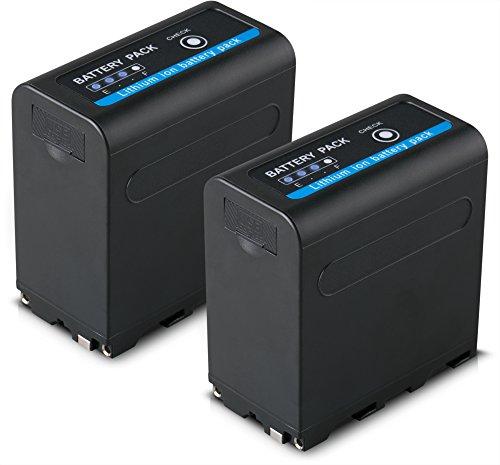 Blumax 2X Akku ersetzt Sony NP-F980 / F970 / F750 / F550-10050mAh mit 5V USB Ausgang (Powerbankfunktion) und DC Strom-Eingang
