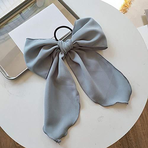 JINMENHUO Bowknot Cheveux Chouchous pour Femmes Filles Doux Élastique Cheveux Bandes Élégant Cheveux Cravate Corde Élastique Bande De Cheveux Gomme Cheveux Accessoires, Bleu Gris