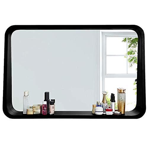 YVX Espejo de Pared con Estante, Espejo Rectangular para baño, Espejo de decoración del hogar, Material de Madera práctico, para Dormitorio, Sala de Estar, Pasillo, suspensión Horizontal