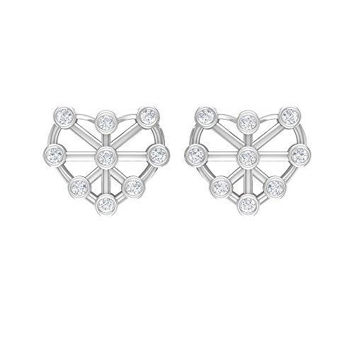 Pendientes de corazón de oro con diamantes (calidad AAA), con rosca blanco