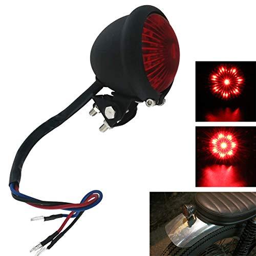 FATECIM Motorcycle Tail Rear Bates Style LED TaillIght Brake Light Stop Lamp For Harley Chopper Bobber Cafe Racer BIKE Black/Red