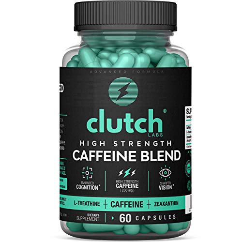 Clutch Labs Caffeine Pills w/L-Theanine 200mg, Zeaxanthin 5mg - 60 Count Supplements for Energy Focus and Vision - L Theanine 200mg Capsules Caffeine Tablets Energy Pills and Gamer Supplement Blend