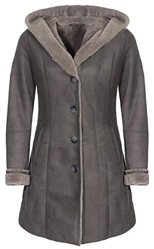 Hollert Damen Lammfellmantel ISA Grau Fellmantel Ledermantel mit Kapuze aus 100% Merino Schaffell Größe XL