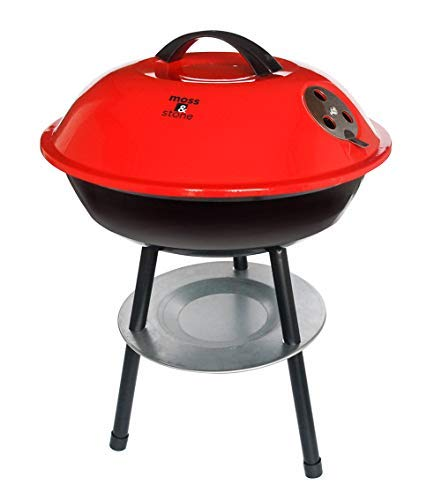 """Moss & Stone Premium Portable 14"""" BBQ Ultimate Outdoor Charcoal Barbecue Grill with Removable Legs & Ash Catcher 