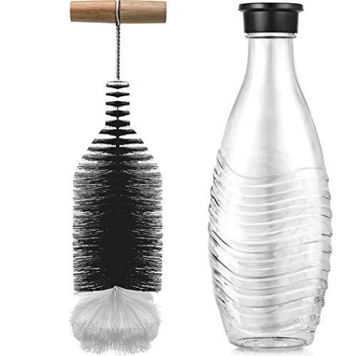 Grunda Cepillo para botellas de 330 cm de largo, compatible con botellas de cristal Sodastream, con mango largo, sin arañazos, para biberones, botellas de pet flash, botellas de agua