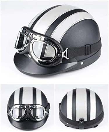 Wei/ß halber Helm und Visier UV-Brille Zerone Roller-Helm,Universal-Motorrad-Roller aus Kunstleder mit offenem Gesicht