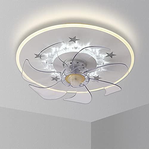 LED Ventilador De Techo Con Luz, Lámpara Ventilador Invisible App Control Con Mando A Distancia Luz Regulable Luz Fría/Neutra/Cálida Decoración De Interiores Plafón De Techo Lluminación,50cm