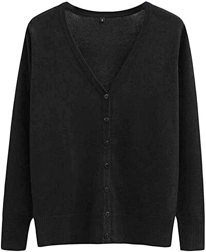CHEXPEL Women Basic Solid Button Up Knit Long Sleeve V Neck Cardigan Sweaters Coat