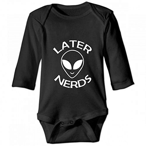KioHp Alien Later Nerds Unisex baby ronde hals lange mouwen body, mode casual baby klimpak zwart