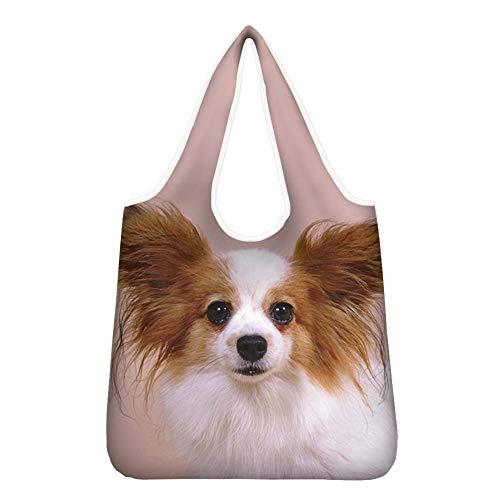 Agroupdream Einkaufstaschen mit Griffen Wiederverwendbare Taschen für Geschenke Faltbar Robust Papillon Hund Rosa