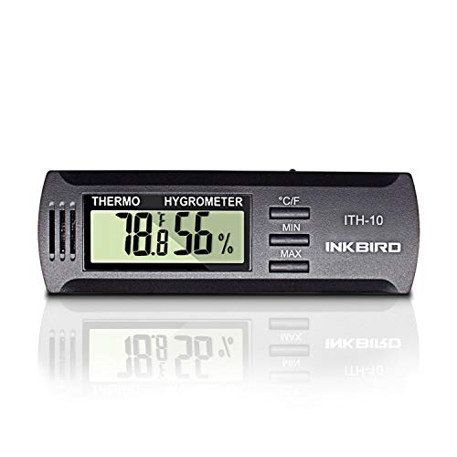 Inkbird ITH-10 Digital Thermometer and Hygrometer Temperature Humidity Monitor Humidor Guitar Ukulele Mason Jar