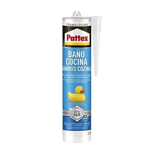 Pattex Baño y Cocina, silicona transparente resistente al moho, sellador impermeable para ducha, lavabo y más, silicona para baño fácil de usar, 1 cartucho x 280 ml