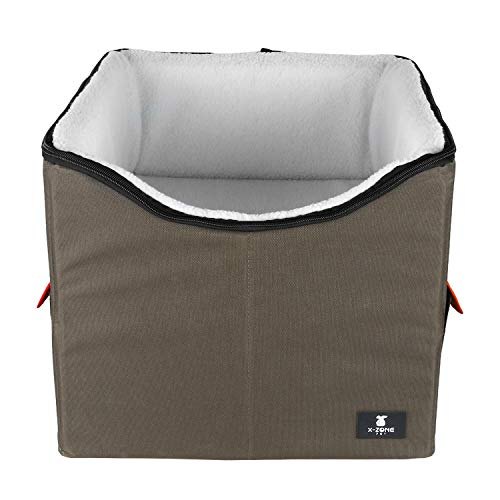 X-ZONE PET Dog Booster Car Seat/Pet Bed at Home, with Pockets and Carrying case,Easy Storage and Portable (Medium, Brown&Red)