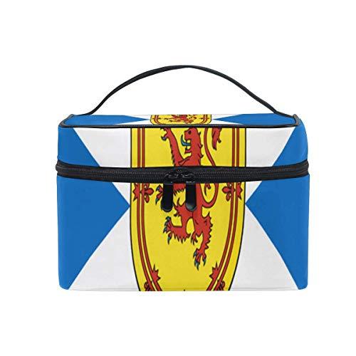 Trousse de maquillage Drapeau de l'Ecosse défigurée avec Royal Arms Cosmetic Bag Portable Grand Trousse de toilette pour femmes/filles Voyage