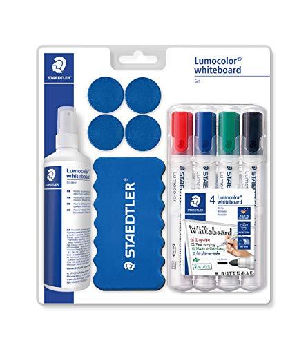 STAEDTLER 613 Whiteboard-Set Lumocolor (praktische Grundausstattung für Whiteboards mit Marker, Wischer, Reinigungsspray und Haftmagneten, hohe Qualität Made in Germany)