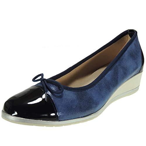 Abril 2020 Francesita Cuña Mujer Piel Zapato Cerrado Cuña 3,5Cm Vestir Piso Goma Antideslizante