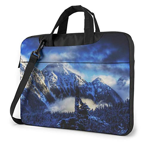 Laptop Shoulder Bag Carrying Laptop Case 14 inch,Snow Nature Mountain Computer Sleeve Cover with Handle,Briefcase Protective Bag
