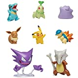 PoKéMoN Battle Figura Multi 8 Pack - (5-6 cm) Eevee, Pikachu, Ditto, Totodile, Chikorita, Cyndaquil (7,5 cm) Marowak & Haunter - Licenciado Oficialmente 2020