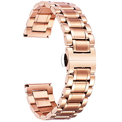 BINLUN Stainless Steel Watch Bands Replacement with Straight & Curved End 6 Colors(Gold, Sliver, Black, Rose Gold, Gold-Silver Two Tone, Silver-Rose Gold) 9 Sizes(12mm-24mm)