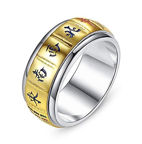 VIVIANSHOP Anillo para hombre de plata de ley 925, anillo de Mahjong, personalidad retro para hombre y mujer, anillo de la suerte. 21