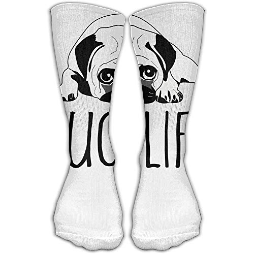 Drempad Luxury Sportsocken Pug Life Unisex Tube Socks Crew Over The Calf Soccer Comfort Stockings For Sport And Travel