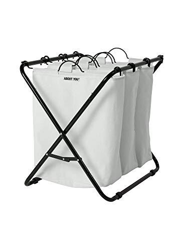 ABOUT YOU Wäschekorb \'Homie\' mit 3 oder 4 herausnehmbaren Wäschesäcken, geräumiger Wäschesammler zum Sortieren und Wäsche trennen, Metall Korb mit Fächern (Hellgrau, 3 Wäschebeutel)