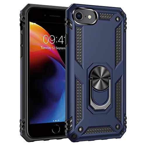 ULAK Custodia per iPhone SE 2020 Antiurto,iPhone 8 con Supporto Anello Cover Protettiva per iPhone 7 con Anello Cover per Telefono Resistente per iPhone SE 2020 / iPhone 8 / iPhone 7 4.7 Pollici,Blu