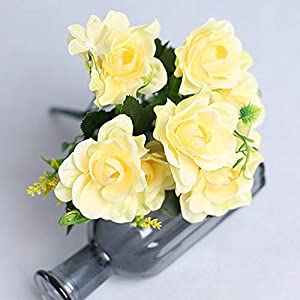 Artificial and Dried Flower 1pc Gardenia Artificial Silk Flower Bouquet Handmade Flowers Wedding Party Decoration Rose Floral – ( Color: Yellow )