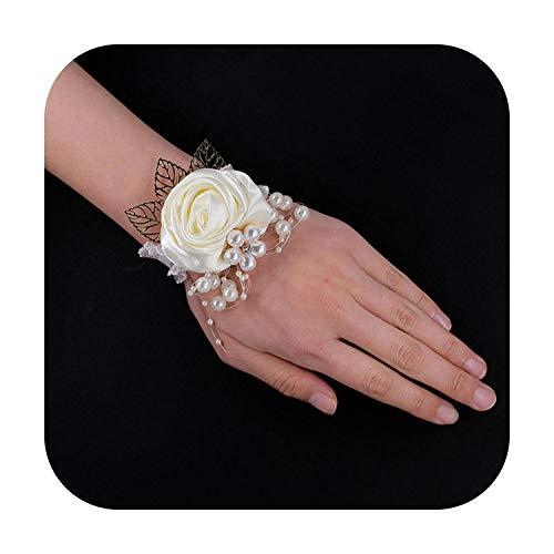 Art Flower Pulsera de ramillete de cristal para dama de honor, con diseño de rosas y flores, color marfil