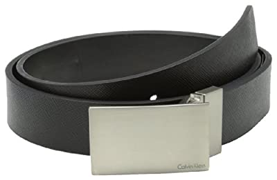 Calvin Klein Men's 32mm Reversible Flat Strap Plaque Buckle With Logo Belt, Black, 34