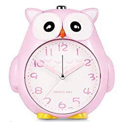 Dual Alarm Clock, Silent Non-Ticking Alarm with Night Light and Snooze, Battery Operated & Easy to Set, Cute Owl Decorative Clock for Kids, Girls Bedroom - Pink