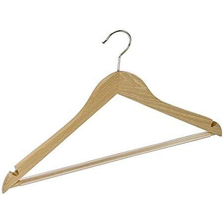 WENKO Cintre galbé Job avec traverse - cintre vêtements avec barrette pantalons antidérapante et encoches pour jupes, forme du corps, Bois, 45 x 23.5 x 1.2 cm, Marron