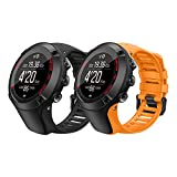 MoKo [2er Pack Uhrenarmband Kompatibel mit Suunto Ambit 1/2/2S/2R/3/3 Sport/3 Run/3 Peak, Silikon Sportarmband Atmungsaktiv Ersatz Armband Wechselarmband, Schwarz + Orange