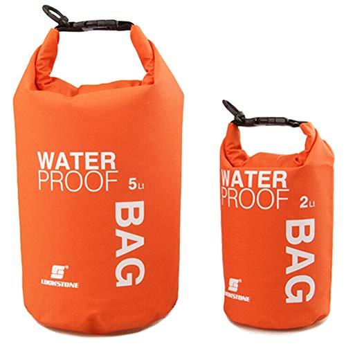 Amorar - Bolsa impermeable para cámara de teléfono móvil, bolsa de playa, bolsa de almacenamiento para artículos al aire libre, para natación, camping, pesca, navegación, kayak, barcos, color naranja, tamaño 5 L