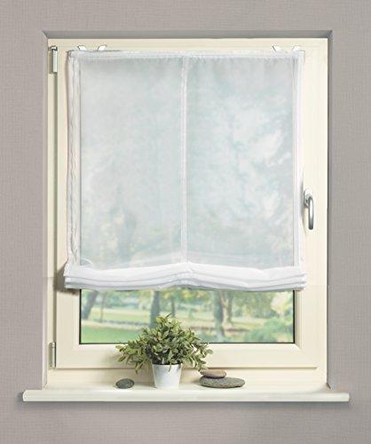 Home Fashion 69941-101 Raffrollo Voile, 140 x 80 cm, weiß