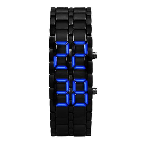 Greatangle-UK Único Hombre Mujer Lava volcánica Estilo Hierro Moda Pulsera Digital Samurai Metal Acero Inoxidable LED Reloj de Pulsera Mejor Regalo Negro y Azul Hombres