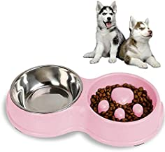 WTYD Pet Supplies Slow Food Anti-Choke Stainless Steel Double Bowl Pet Non-Slip Cat Food Bowl(Pink) (Color : Pink)